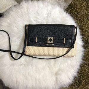 Kate Spade LOULA Straw Leather Crossbody Bag